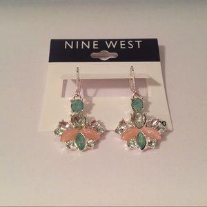 Nine West Colorful Silver Dangle Hook Earrings